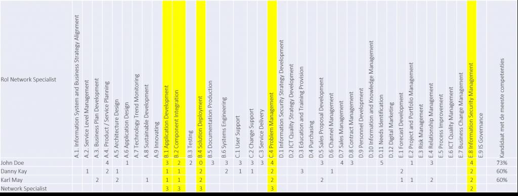 e-CF competentie inzichten per rol